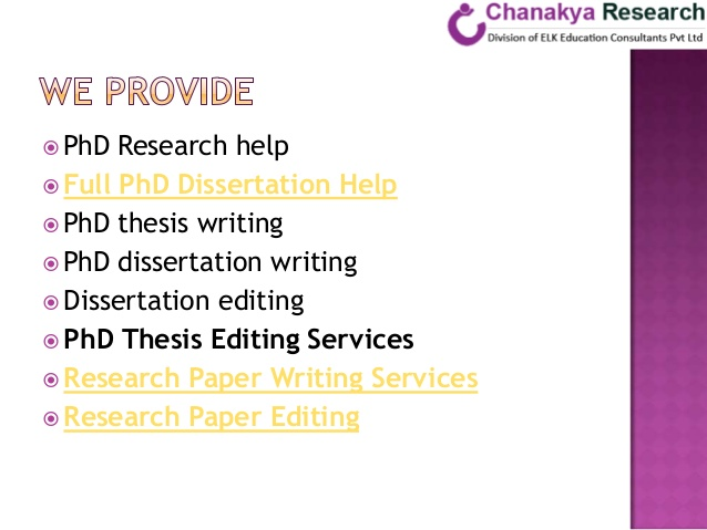 Phd Dissertation Writing Services