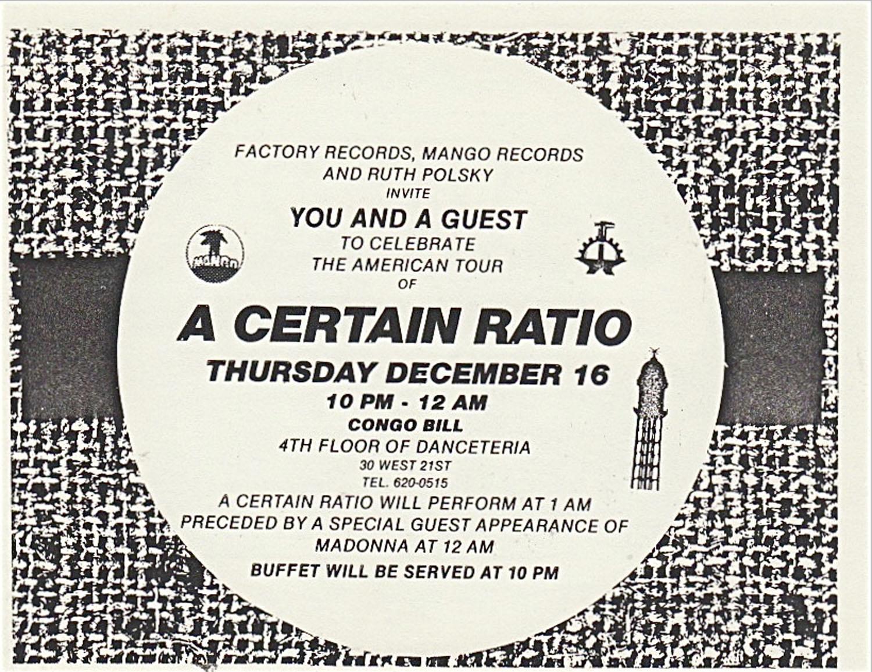 A Certain Ratio & Madonna @ Danceteria 1982