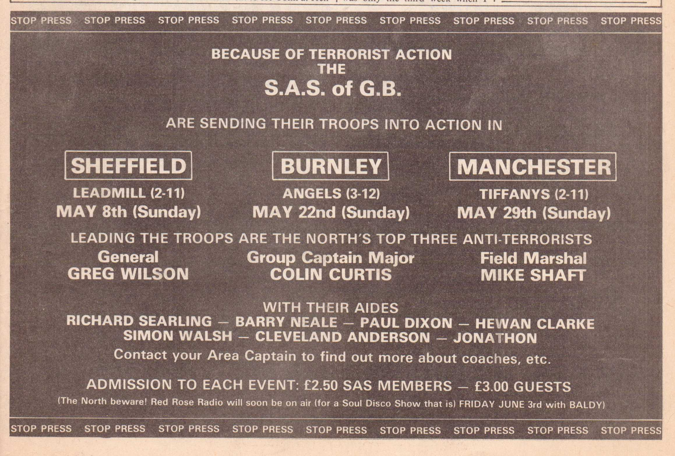S.A.S Of G.B All Dayers May 1983