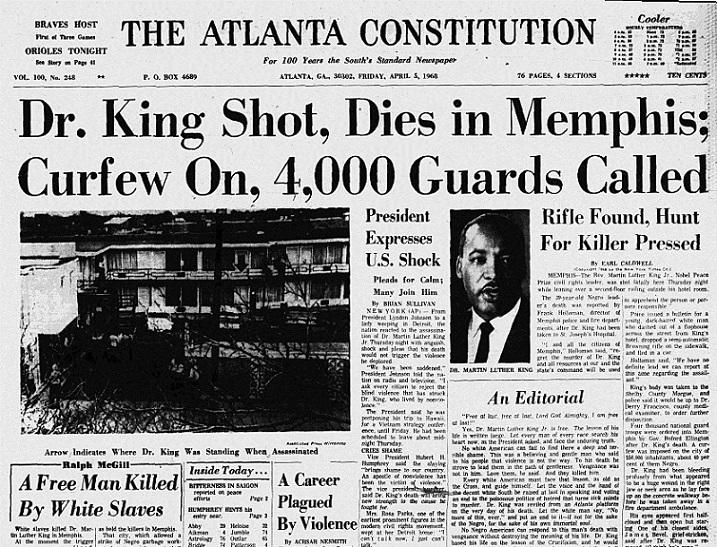Martin Luther King Newspaper Headline